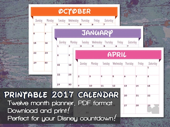 Items Similar To Disney  Printable Calendar  Disney Trip