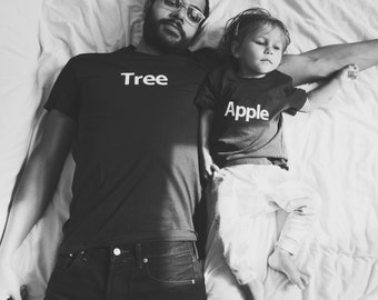 Matching apple tree outfit T-shirt for mom or dad + Kids