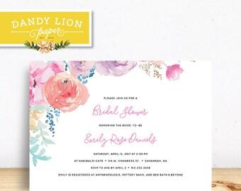 Spring Floral Bridal Shower Digital Invitation - DIY Printable