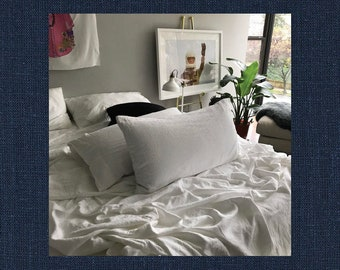 Navy Blue Pair of Linen Pillowcases - Minimalist Bedding - Made to Order in the USA