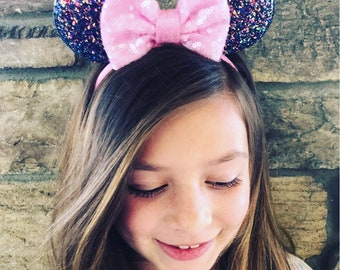 Mouse Minnie Inspired Ear Headband CHUNKY GLITTER ears Light Pink 4 INCH sequin bow smallers ears**