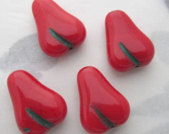 20 pieces Vintage Czech glass fruit salad red pear beads 16x12mm - r362