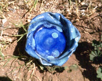 bowl Cobalt blue ceramic pottery bowl that is shallow and small