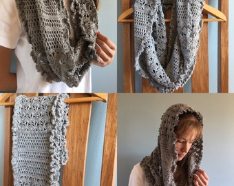 Lacy featherweight infinity scarf-custom made infinity scarf-crochet infinity scarf-lightweight infinity scarf-made to order infinity scarf