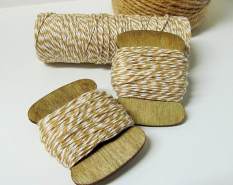 Khaki & White Baker's Twine - 15yds -   - 100% Cotton - 2 Ply - Packaging - Tag Hanger - Bow Making