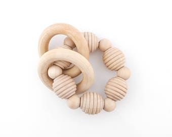 Wood Teething Rattle | Wooden Teething Beads | Wood Teething Ring | Wood Toddler Toy