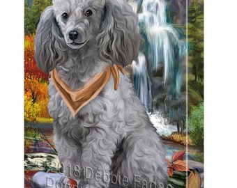 Scenic Waterfall Poodle Dog Canvas Wall Art