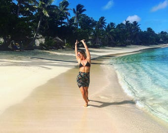 Tropical Bird of Paradise Lycra Bodycon Surf Skirt