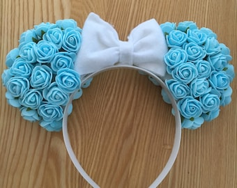 Cinderella/ Elsa Floral Ears (Light Blue)