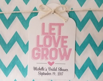 Wedding Gift Tags - Let Love Grow - Bridal Shower Favor Tags - Customizable Personalized - White (WT1812)