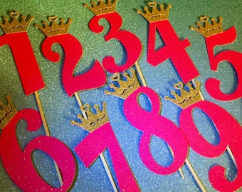 Glitter number cake topper with crown (options 0-9) (choose your color)