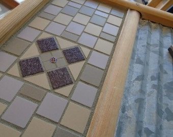 Mosaic Antique Washboard with Purples and Tans