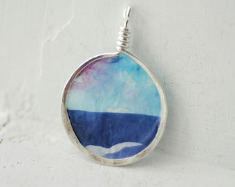 Lake Mini Painting, Sunset Original Art, Landscape Jewelry, Indigo Blue Pendant, Purple Necklace, Blue Sky Jewelry, Statement Necklace