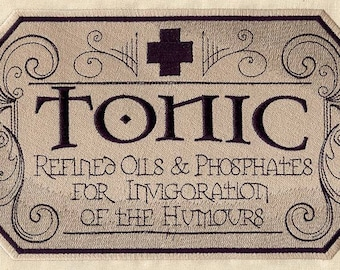 Vintage Style Embroidered Apothecary Tonic Patch available in 3 sizes