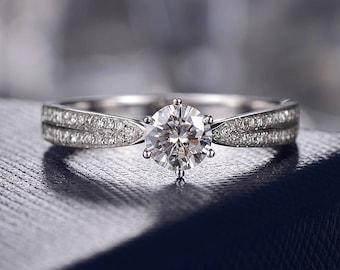 Moissanite Wedding Ring Forever One Moissanite Engagement Ring White Gold Bridal Set Anniversary Split Shank Delicate Promise Double Row