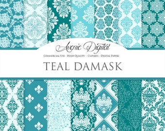 28 Teal Damask Digital Paper. Scrapbook Backgrounds Turquoise Wedding seamless patterns for Commercial Use. Instant Download.