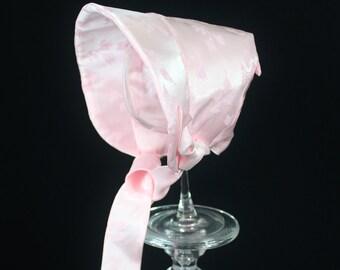 Pink Baby Bonnet, Easter Bonnet, Easter Hat-Brielle