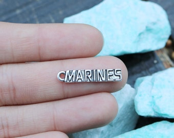 set of 10, marine charms, antique silver charms, metal charms, 25mm x 5mm, word charms, tag charms, army charms,