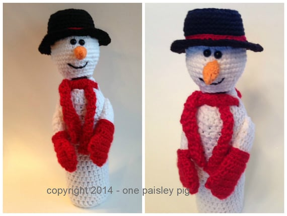 Snowman Wine Bottle Cover Gift Bag Pdf Crochet Pattern