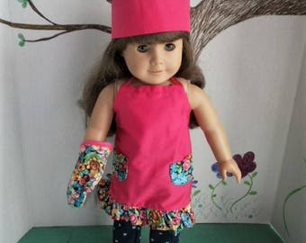 Chef Hat, Apron, Potholder Mitt for American Girl Size Dolls, Choice of Colors
