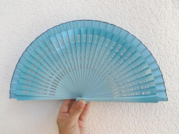 Two Tone Blue Fret Hand Fan Flamenco Design Spanish Handheld Folding Fan Limited Edition