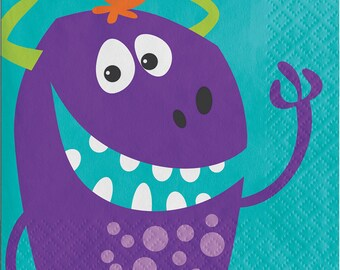 Monster Birthday Party Napkins/ Monster Party Napkins/ Monster Party/ Monster Napkins