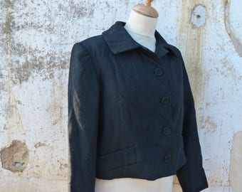 Vintage 1950/50s French black short jacket  size S/M