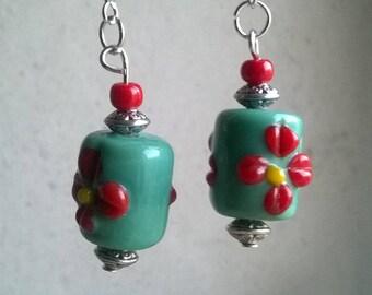 Green turquoise glass beads earrings