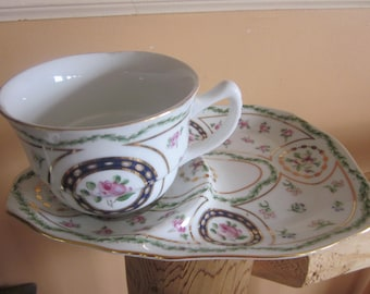 teacup with desert plate, lovely set, gold trim