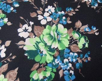 skirt making fabric / vintage / retro / original 60s / green bouquet of flowers