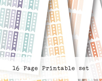 Inkwell Press Planner & other planners Checkflags Printable Sticker Kit - Instant Download