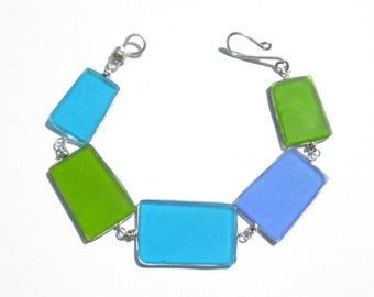 Blue-Green Seaglass Bracelet/ Necklace