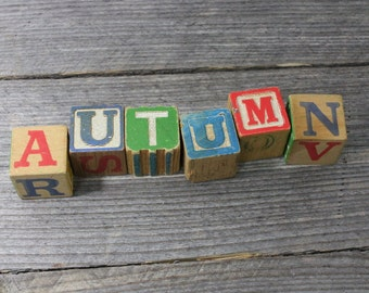 AUTUMN spelled out in vintage ABC blocks, 1-1/4 inch vintage wooden blocks. Blocks, ABC, wooden blocks, letters, letter blocks