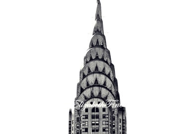 Art Deco Art,Chrysler Building,Art Deco Print, Black & White,New York,Manhatten,Dorm Decor,NYC,Architecture,Skyline, Elegance,Travel,Kitchen