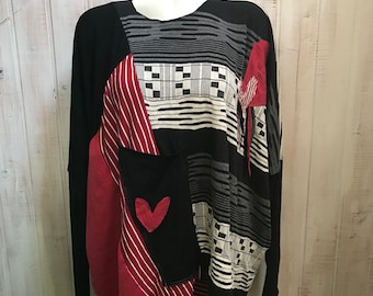 Size plus - up cycled clothing, sweaters - recycled-cropped - red - black - grey