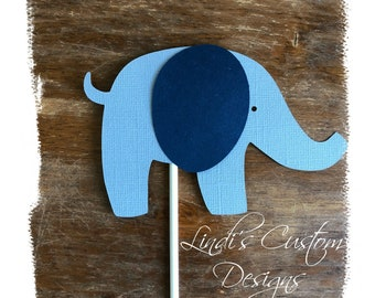 Elephant Cardstock Diaper Cake Topper, Navy Blue Gray Elephant Die Cut Baby Gift Toppers, Baby Shower Elephant Decor, Elephant Shower Decor