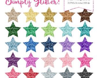 Professional Glitter Stars Clipart - Glitter Stars, Glitter Clipart, Sparkle Stars, Glitter Graphics