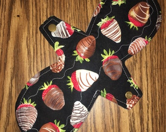 11 inch Moderate reusable cloth pad - chocolate covered strawberries
