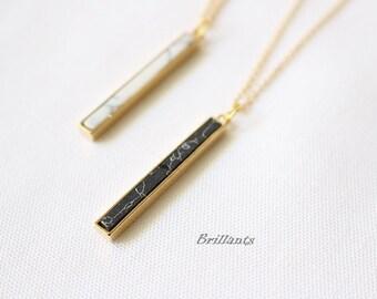 Howlite Stone Bar necklace, Skinny Vertical Bar necklace, Black, Layer, White stone,  Marble stone necklace, Bridesmaid, Wedding necklace