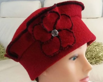Red boiled wool beret Hat Cap