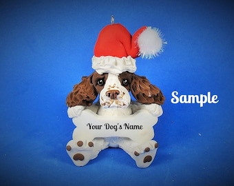 Chocolate & White Cocker Spaniel Santa Dog Christmas Holidays Bone Ornament Sally's Bits of Clay PERSONALIZED FREE with dog's name