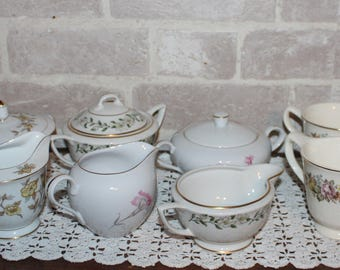 Creamer and sugar  lot of 4 sets for Bridal or baby Shower,  tea party table,  planters, ceramic decor decorations