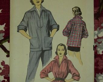 Vintage Pattern 1950's Advance No.5859 Sporty Overblouse/Jacket Size 13-15
