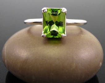Peridot Ring silver August Birthstone Ring, peridot sterling silver 925, rings peridot genuine green peridot size 3 4 5 6 7 8 9 10 11 12 13