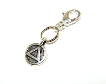 Recovery Charm Clip, Unity Symbol Zipper Pull, Bag Dangle or Keychain Charm - Silver Bronze Copper or Gold