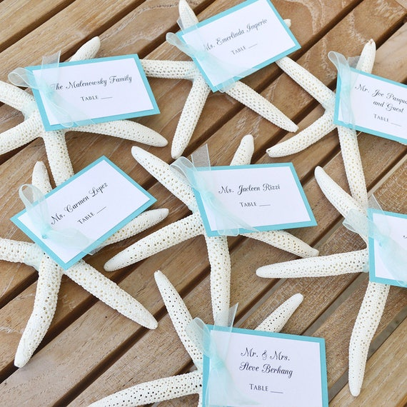 Starfish Place Cards - Escort Cards - Table Cards - Beach Wedding Placecards - Custom colors available for Hangtag and Ribbon