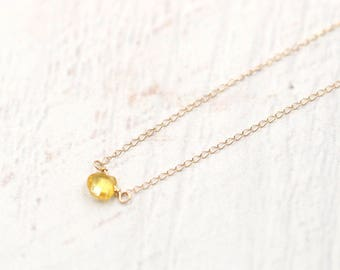 Yellow Sapphire Necklace  -14k Solid Gold Heart-shaped Sapphire -14k Gold - Dainty necklace -September Birthstone