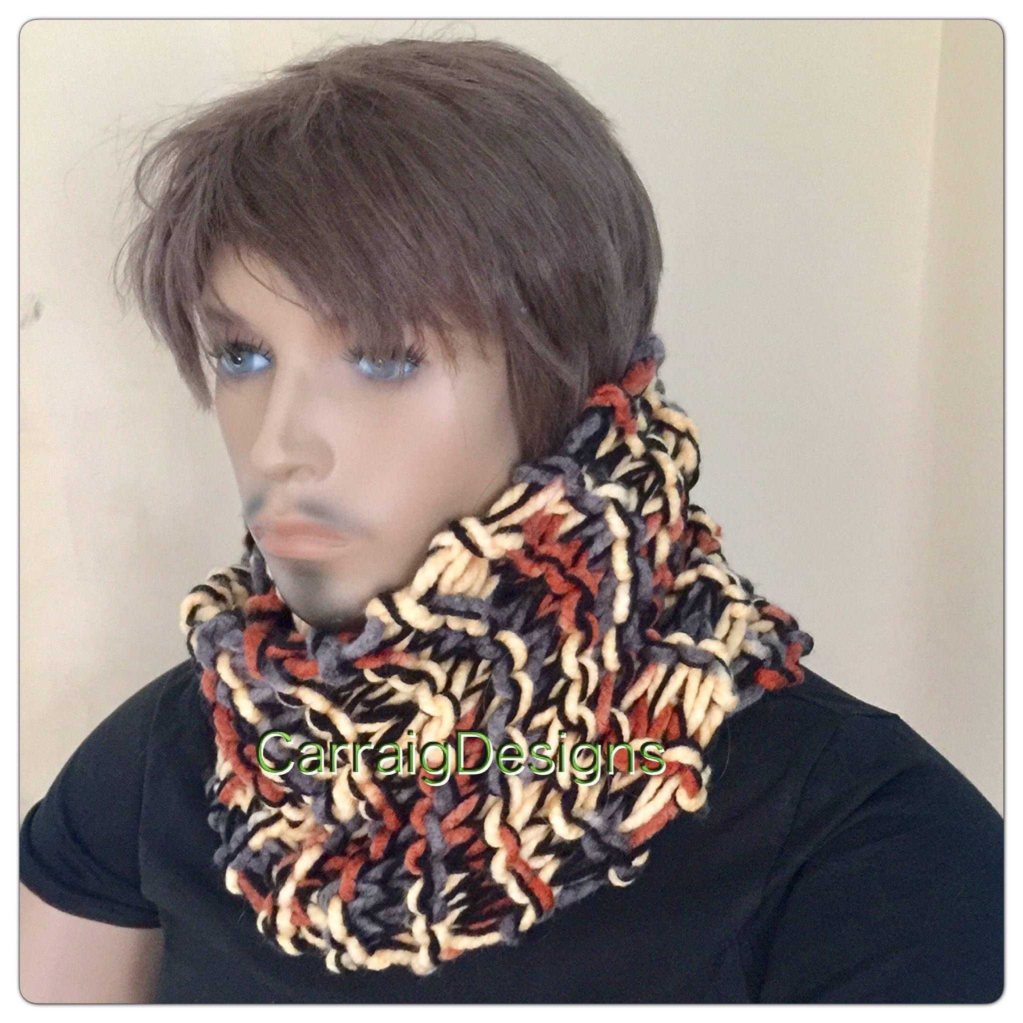 Mens Bulky scarf knit man teens designer unique handmade knit ...