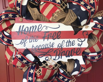 4th of July wreath Patriotic wreath red white and blue wreath Home of the free because of the brave burlap wreath summer wreath flag wreath