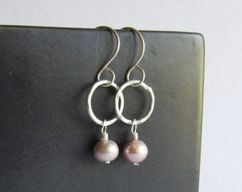 Pearl Earrings - Hammered Sterling Silver Hoop Earrings - Wedding Jewelry - June Birthstone - Graduation Gift